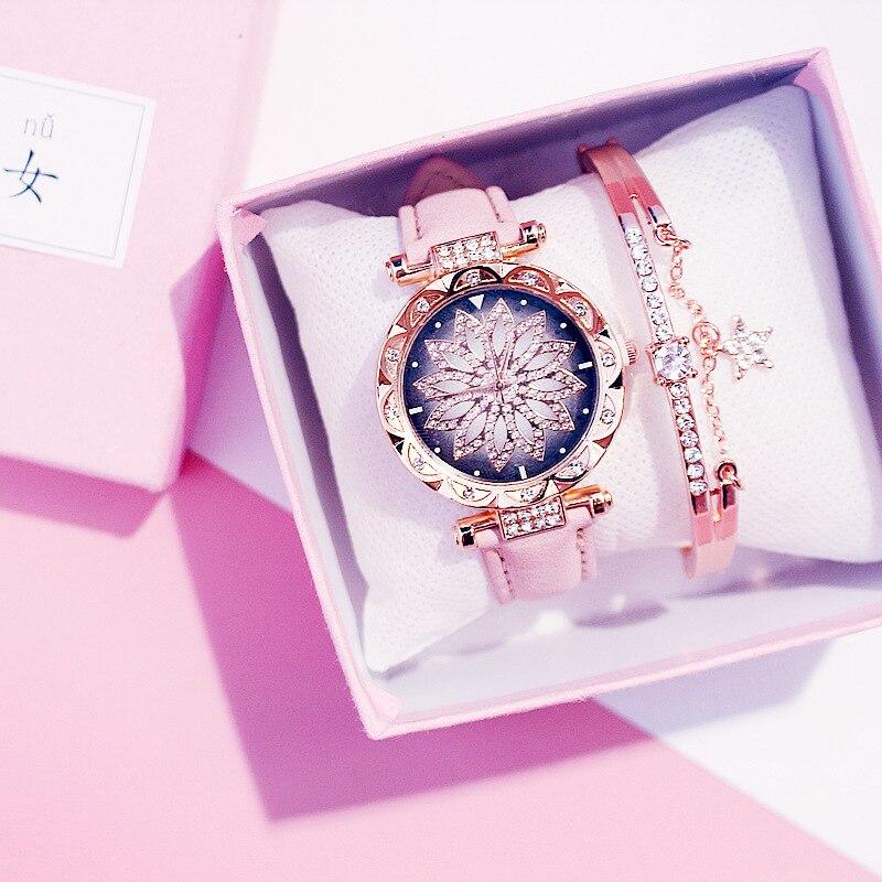 Casual Women Romantic Starry Sky Wrist Watch Bracelet Leather Rhinestone Designer Ladies Clock Simple Dress Gfit Montre Femm