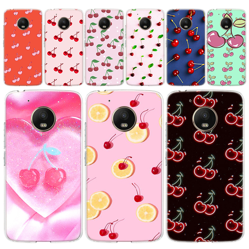 Pink Cherries Pattern Phone Case For Motorola MOTO G8 G7 G6 G5 G5S G4 E6 E5 E4 Plus Play Power One Action Soft Silicone TPU Cove