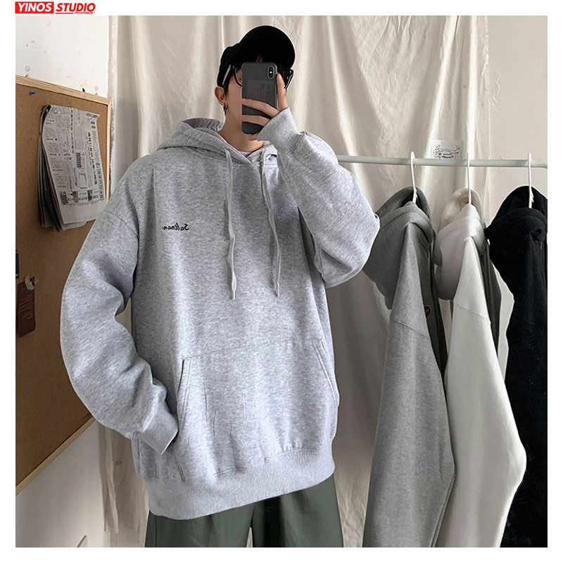 Dropshipping Male Spring Causal Solid Hoodies 2020 Mens Long Sleeve O-Neck Sweatshirts Fashion Cotton Pullover Oversize