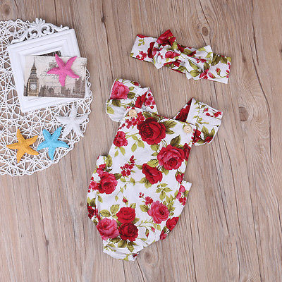 H11e84c4484bc4535bcf18f338aa6ade9S 2018 Cute Floral Romper 2pcs Baby Girls Clothes Jumpsuit Romper+Headband 0-24M Age Ifant Toddler Newborn Outfits Set Hot Sale