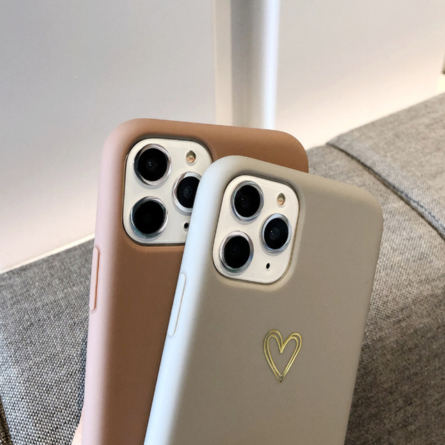 Gold Love Heart Phone Case for IPhone12 Pro Max XR 7 6 8 Plus Solid Color Cover for Iphone11promax Xs Max Soft TPU Mini Capa 4
