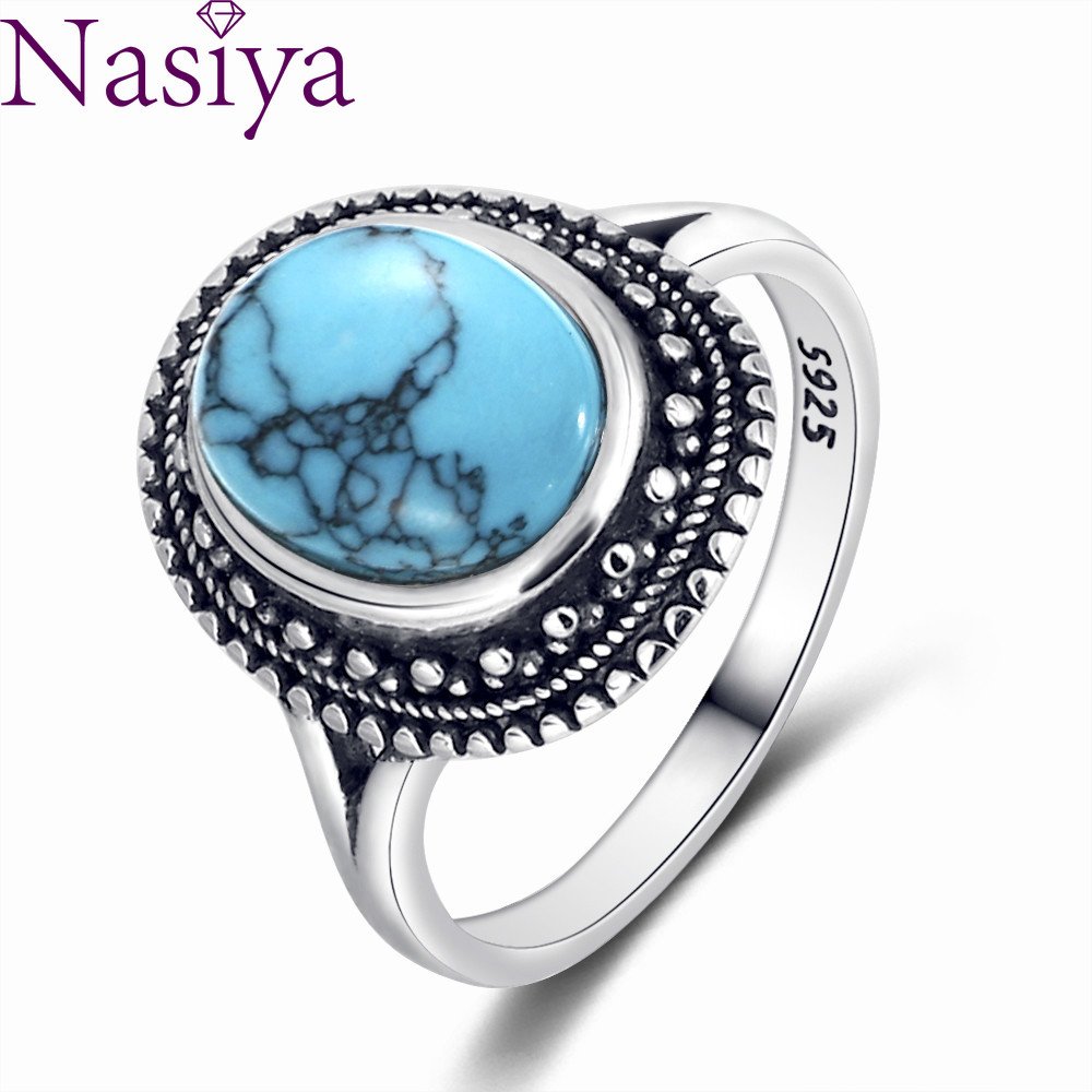 925 Silver Rings Natural Turquoise Gemstone Rings for Women Wedding Bands Anniversary Gift Fine Jewelry