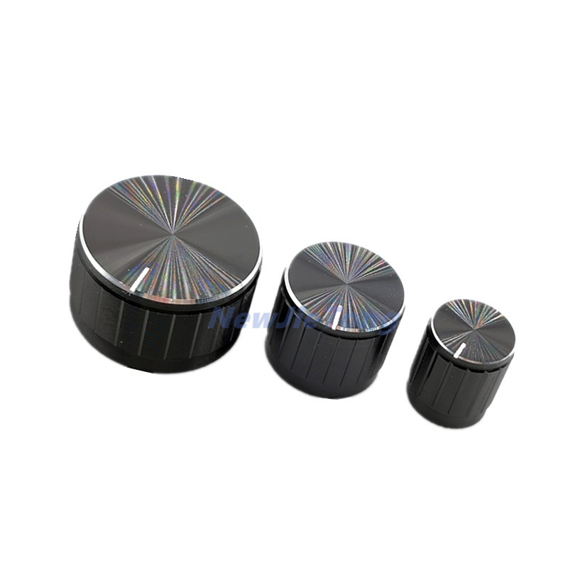 5pcs Black Aluminum Alloy Potentiometer/Encoder Knobs Switch Caps 30/21/15 X 17mm Half Shaft Plum Shaft