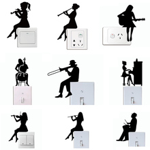 Girl Playing Violin Silhouette Switch Sticker,Man Playing Trombone Silhouette Wall Stickers,Music Wall Art Decals Home Decor