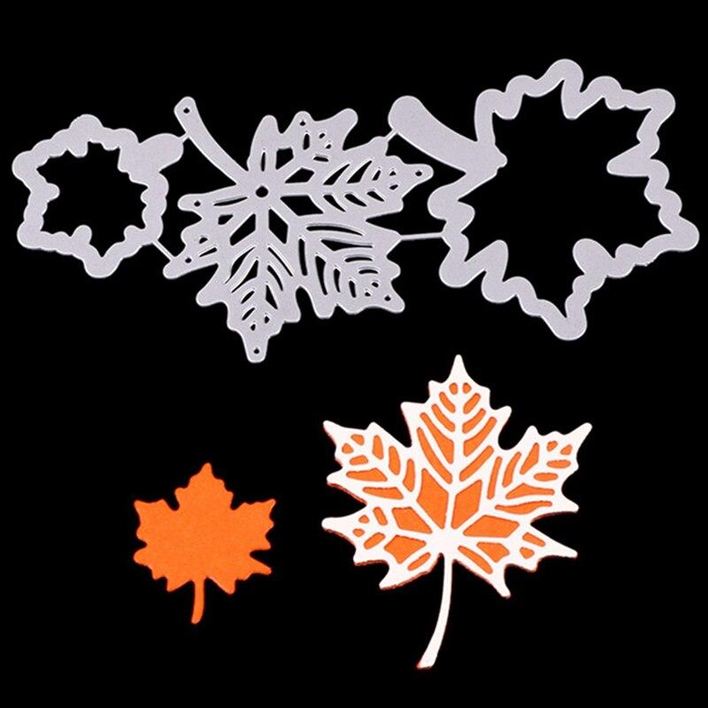3 Pcs/Set Maple Leaf Metal Cutting Dies Scrapbooking Stencil DIY Decorative Embossing Craft Die Cuts Card Making New Dies Tools