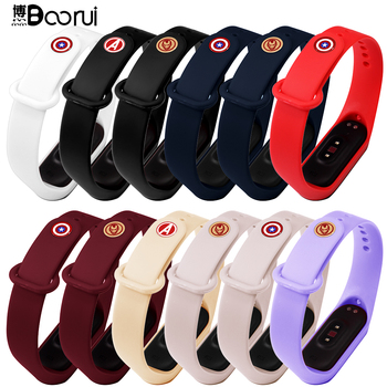BOORUI mi band 4 strap with metal avenger buckle miband 3/4 accesoories wrist strap for xiaomi mi band 3/4 with fashional colors