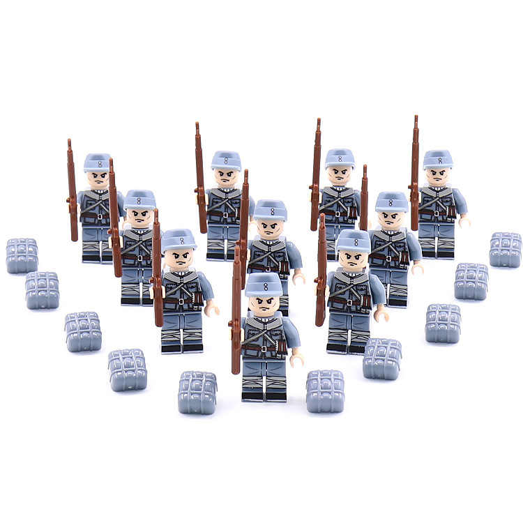 Moc world war military building block brickmania china Eight Route troops Army soldiers ww2 figures weapon gun brick toy for boy