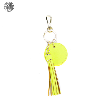 Zenos Ins Fashion Saffiano Leather Tassel Keychain Car Key chain Ring Men And Women Bag Accessory image
