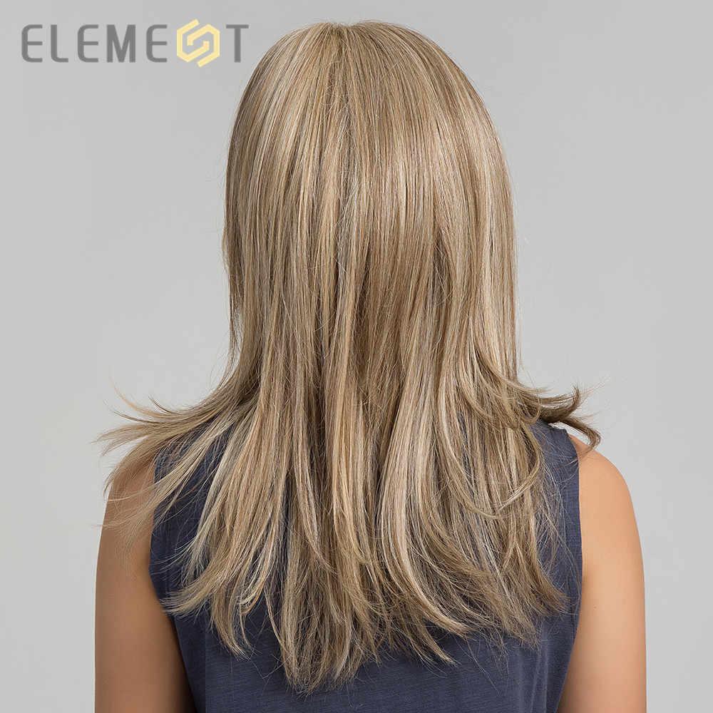 Element Synthetische Lange Rechte Haar Licht Bruin Mix Blonde Pruiken Met Pony Kant Voor Wit/Zwart Vrouwen Daily Wear