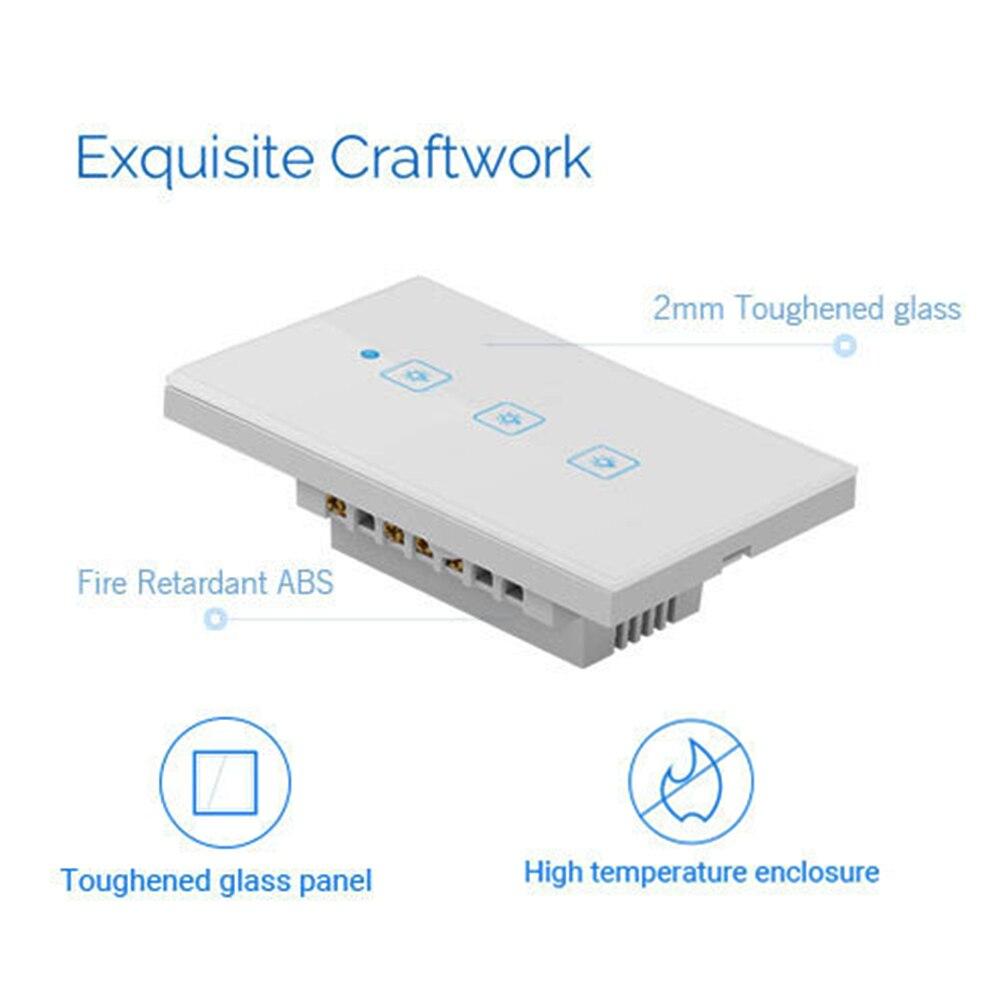 Image 3 - Wifi умный светильник, переключатель, сенсорная стеклянная панель, США, прямоугольник, беспроводное электрическое приложение, дистанционное управление голосом, работа для Alexa Google HomeВыключатели    АлиЭкспресс