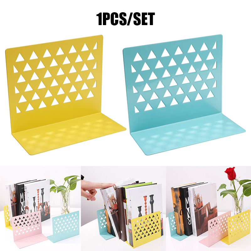 1pcs Metal Hollow Book Stand Library Bookends Supports Office School Supplies OD889