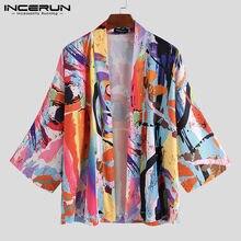 INCERUN mode hommes Kimono Vintage Style japonais imprimé Yukata demi manches vêtements d'extérieur Blouse ample Cardigan hommes vêtements S-3XL