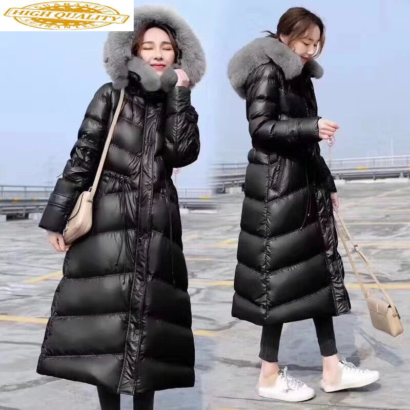 2020 Women's Down Jacket Long Winter Coat Women Big Fur Collar Hooded Korean Warm Puffer Jacket Chamarras De Mujer WT0029 KJ2599