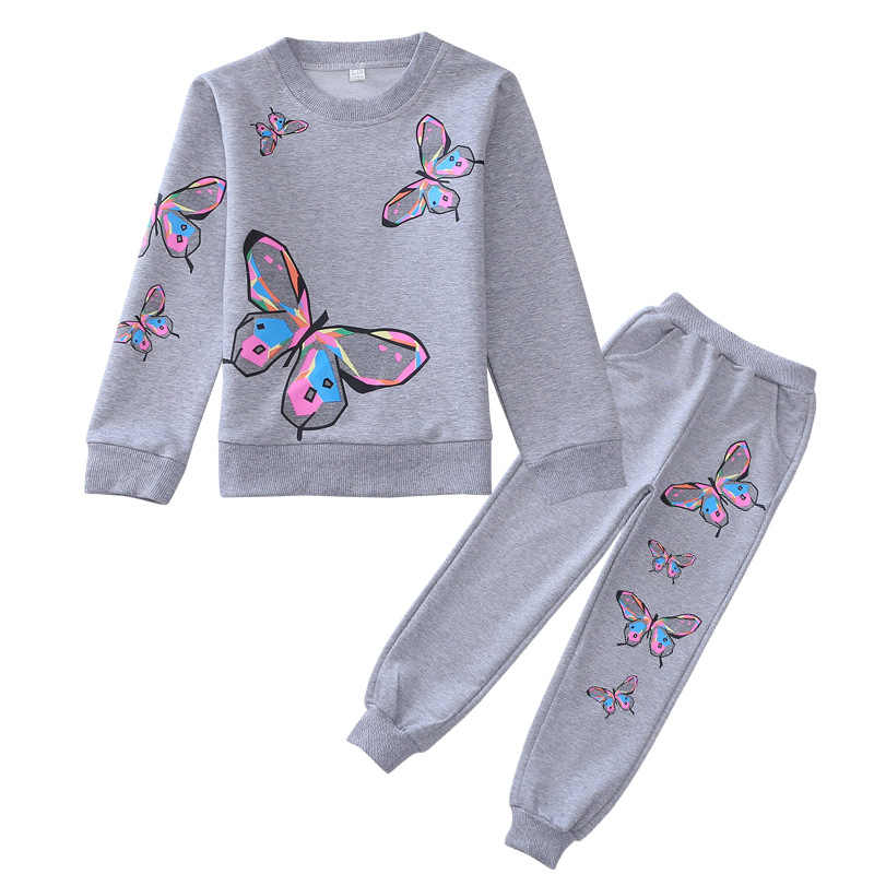 4-12Y Autumn Girls Set Casual Children Set Suits Butterfly Long Sleeve Shirt + Pants Fashion Girls Clothing Kids Sports Sets