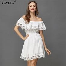 YGYEEG 2019 New Women Summer Sexy Beach Casual Loose Dress Slash Neck Elegant Vintage Sweet Lace White Black Mini Vestidos