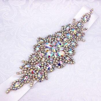 AB Silver Diamond Crystal Bridal Belt For Bridesmaids Dresses Rhinestones Wedding Sash - discount item  39% OFF Wedding Accessories