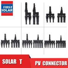Pv t 3 t 4 t 5 t 6 t ramo conexão paralela 30a 1000 v conector elétrico fotovoltaico 2 pces painel solar cabo fio conectar