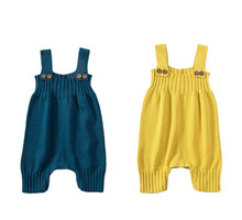 Kids Baby Knitting Romper Cute Warm Baby Jumpsuit For Newborn Baby Boy Clothes Cotton Kids Rompers Infant Yellow Overall 40 стоимость