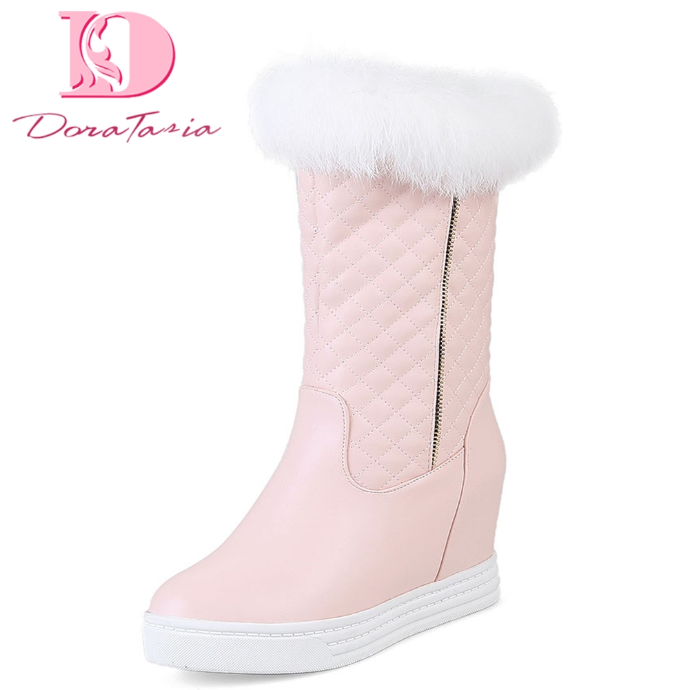 Doratasia Brand big size 44 lady snow boots women height increasing shoes woman russia winter keep warm fur boots female