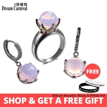 DreamCarnival1989 New Arrive Dome Cut Pink Color Zirconia Rings + Earrings Set Crown Shape Top Brand Quality Jewelry ER3819PNS2