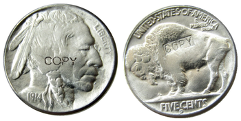 US 1914-D Buffalo Nickel Five Cents Copy Coins image