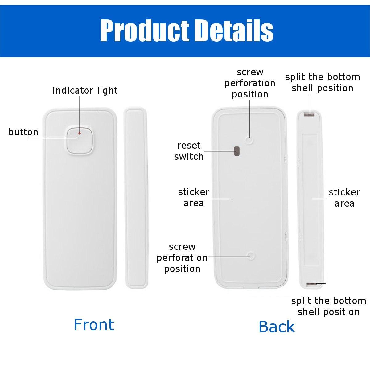 Image 4 - WiFi Smart Door Window Sensor Alarm Kit APP Control Remote Magnetic Detector Home Office Door Window Alarm Security System Set-in Sensor & Detector from Security & Protection