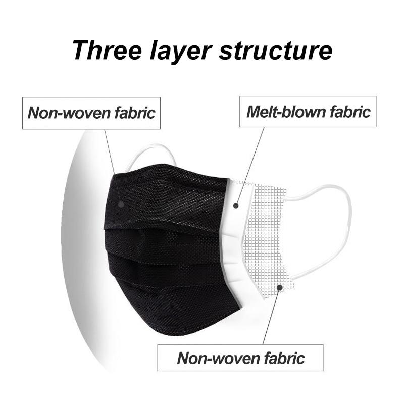Free-shipping-Black-3-layer-Mask-10-20-50-100pcs-Face-Mouth-Masks-Melt-Blown-Cloth