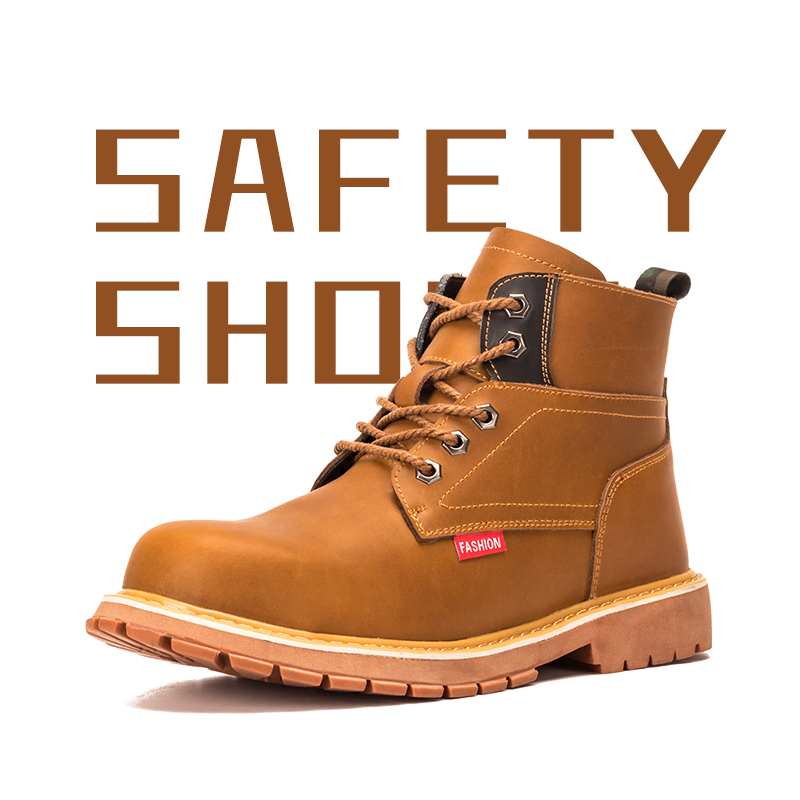 Work Boots Men Office Safety Shoes Indestructible Shoes Anti Smashing Puncture Proof Crazy Horse Leather Good Year Handmade