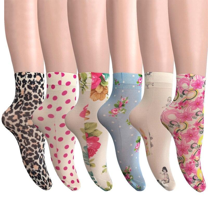 KASURE новые модные женские носки до щиколотки с цветочным принтом бабочки эластичные весенне-летние мягкие женские носки