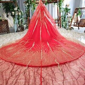 Image 2 - HTL795 moslim trouwjurk met bruidssluier kralen patroon hoge hals lange mouwen gouden kant wedding gown red vestido novia