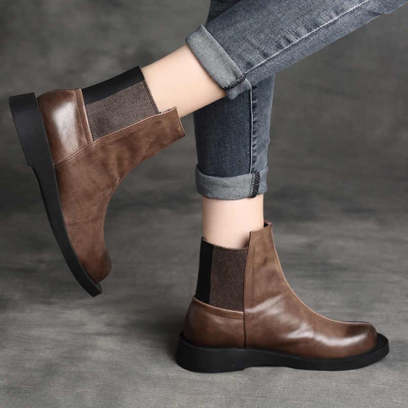 Kadın yarım çizmeler Hakiki Deri Marka Düşük Topuklu Ayakkabılar Kadın El Yapımı Mumlu Deri Martin Çizmeler Kadın Kış 2019 Retro Ayakkabı