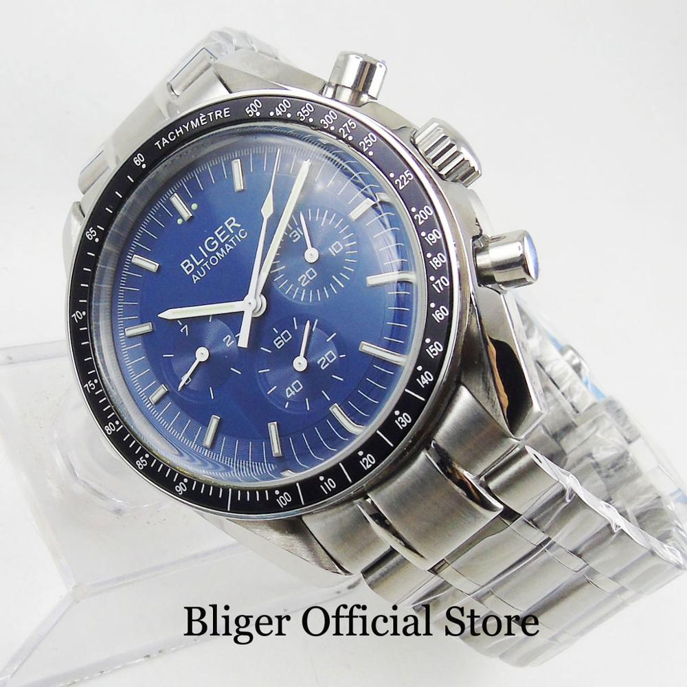 BLIGER Blue Stainless Steel 40mm Men's Watch Automatic Movement Week Date Indicator Mental Bracelet Clasp
