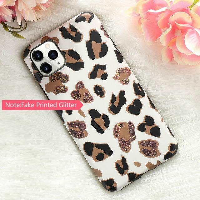 Leopard Fake Glitter Case for IPhone 11 Pro Max X XR XS 7 8 Plus 6 6S SE2020 12 Mini Slim Rubber Soft Phone Cover Funda Coque 3