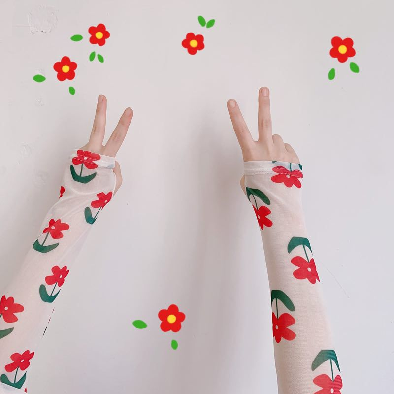 2020 Fashion Protection Arm Warmer Print Long Fingerless Long Gloves Mesh Sleeves Breathable Sunscreen Cuff