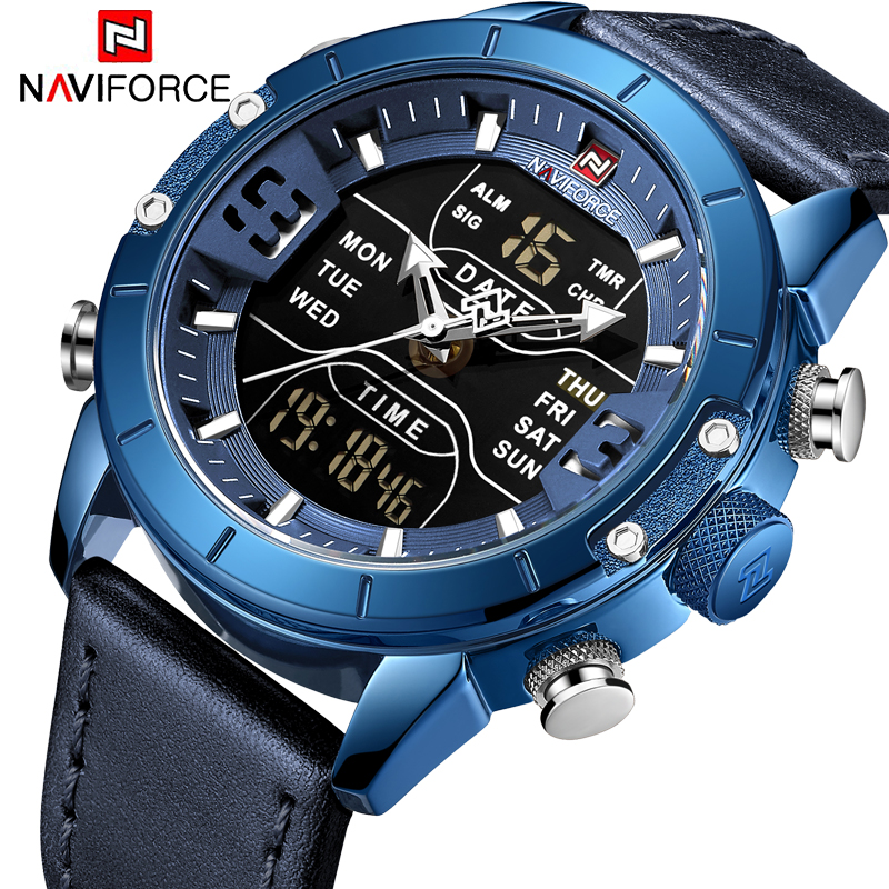 NAVIFORCE New Mens Watches Top Brand Luxury Multiple Time Zone Waterproof Watch For Man Leather Strap Watch Relojes Para Hombre