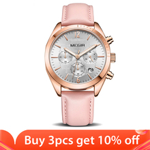 ساعات يد نسائية من MEGIR ساعة كوارتز نسائية من الجلد الوردي مواكبة للموضة ساعات يد نسائية