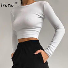 Irene O cuello camisa de manga larga mujeres camiseta Tops recortados sexys de Primavera de 2021 negro Casual Slim Skinny básicos mujer T Camisas blanco