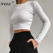 Irene – t-shirt à manches longues et col rond pour femme, Slim, basique, blanc, côtelé, Sexy, printemps, hauts courts, 2021, noir, décontracté