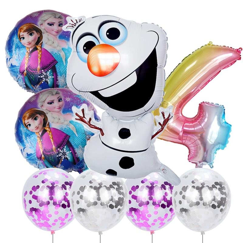 С принтом Олаф, Эльзы и принцессы Анны из мультфильма «Холодное сердце» Фольга воздушные шары в виде снеговика День рождения Декор конфетти...