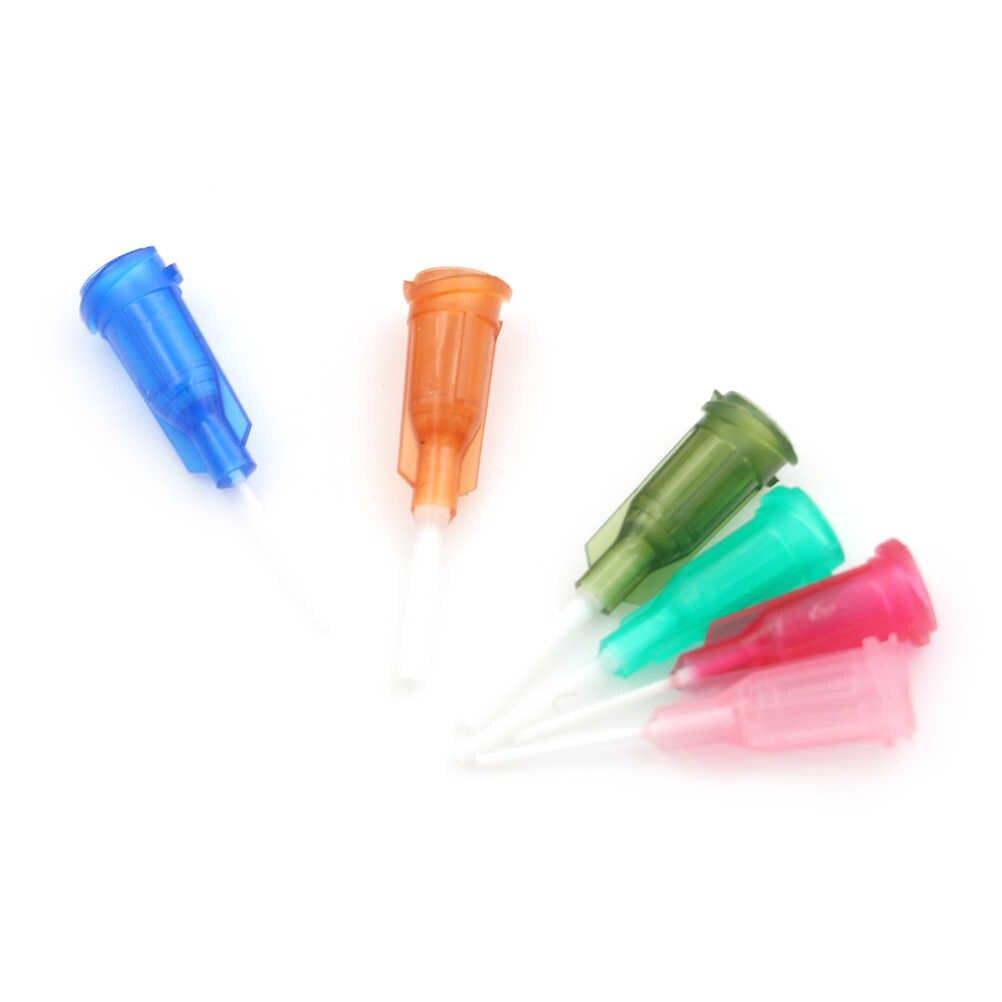 בוטה מחלק מזרק גמיש טיפ 14-25Ga עבור דבק Dispenser 6pcs 6 צבעים DIY פלסטיק מעורב מזרק מחט טיפים