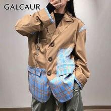 Женский клетчатый Блейзер galcaur дизайнерское пальто с отложным