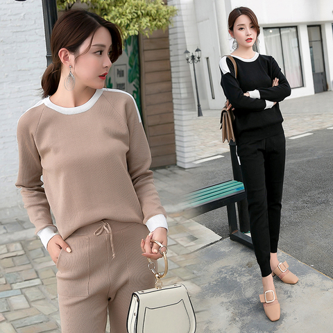Women  2 piece set knit pants suit Sweater tracksuit Suits and Set Autumn Spring Casual  Pullover Winter sets Pakistan
