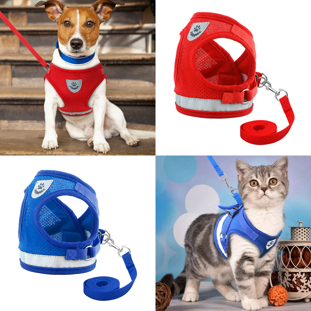 Pet Dog Harness for Chihuahua Pug Small Medium Cats Dogs Outdoor Puppy Mesh Harnesses Vest Reflective Walking Lead Leash