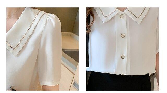 Blusas Blouses Femme Tops Women Turn Down Collar Blouse Women 2021 Summer White Blouse Short Sleeve Chiffon Blouse Shirt E778 6
