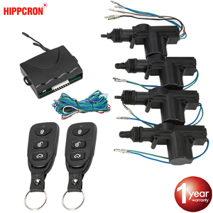 Hippcron Car Lock Door Remote Control Keyless Entry System Locking Kit with 4 Door Lock Actuator Universal 12V