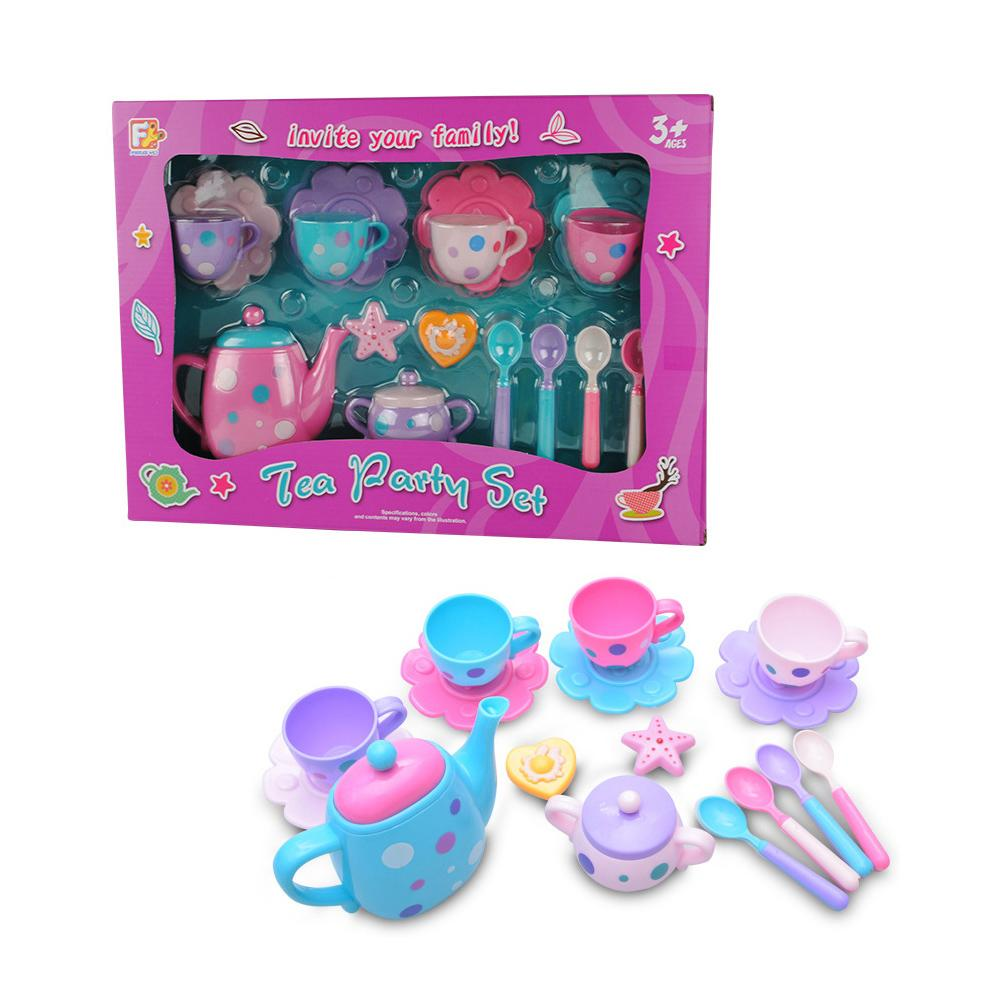 Unicorn Kids Tea Toys for Kitchen Pretend Play Tin Teapot Set with Carrying Case for Toddlers Boys 15 Pieces Alyoen Tea Party Set for Little Girls