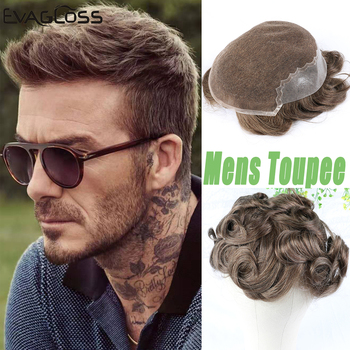 Men's Wig Natural Hairline Swiss Lace Thin PU Male Wig Remy Human Hair Replacement System Hair Prosthesis Toupee Mens