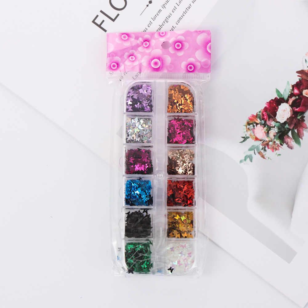 12 กริด/ชุดผีเสื้อรูปร่างเล็บ Flakes Holographic Paillette 3D เลเซอร์ Glitter Bow Tie เล็บเล็บตกแต่ง DIY เคล็ดลับ