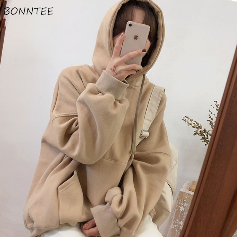 Hoodies Women Thicker Warm Solid Loose Long Sleeve Korean Style Streetwear Sweatshirt Harajuku Pockets Womens Ulzzang Students