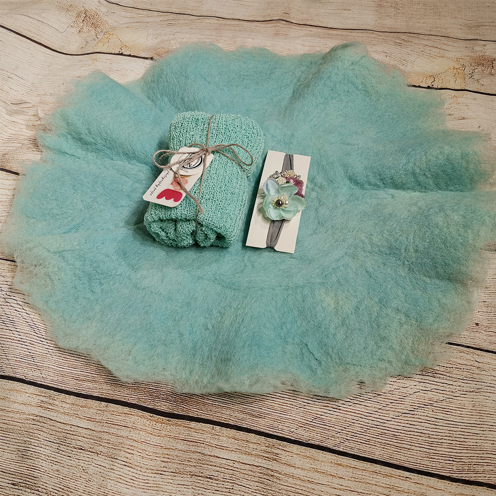 Handcraft Wool Felted Round Blanket+ 140*30cm Stretch Knit Wrap+matched Cotton Headband For Newborn Photography Props Baby Shoot